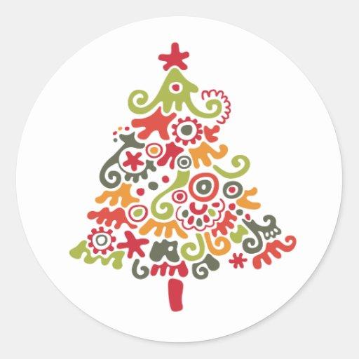 Colorful Christmas Tree Round Sticker