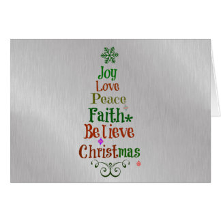 Colorful Christmas Tree Words Greeting Card