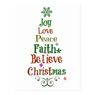 Colorful Christmas Tree Words Postcard