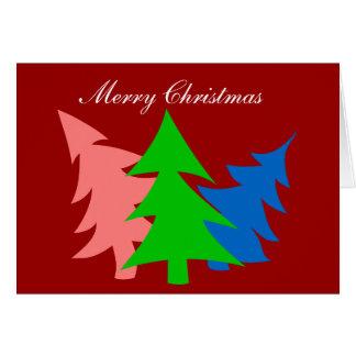 Colorful Christmas Trees Greeting Card