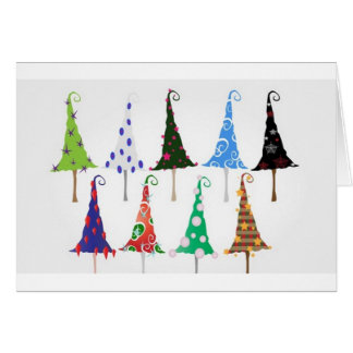 Colorful christmas trees design greeting card