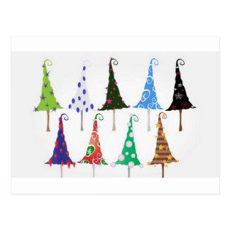 Colorful christmas trees design postcard