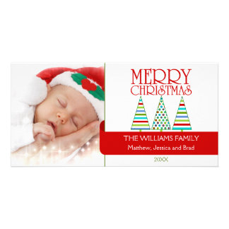 Colorful Christmas Trees Photo Cards