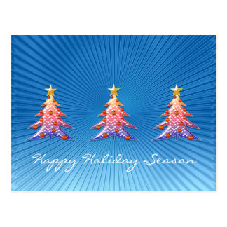 Colorful Christmas Trees - Postcard