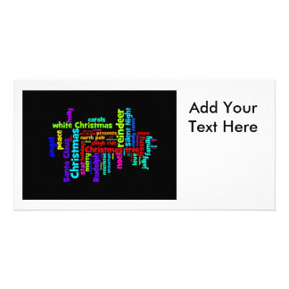 Colorful Christmas Word Cloud Personalized Photo Card