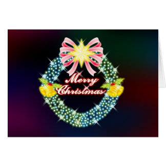 Colorful Christmas Wreath Greeting Card