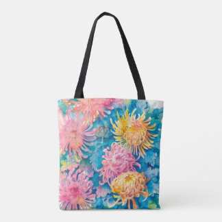 Colorful chrysanthemum flower printed tote bag