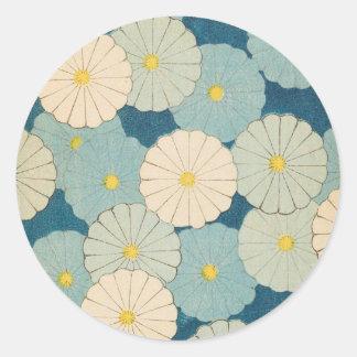Colorful Chrysanthemum Flowers Classic Round Sticker