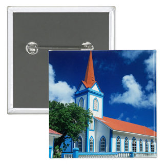 Colorful church on the island of Tahaa in the 15 Cm Square Badge