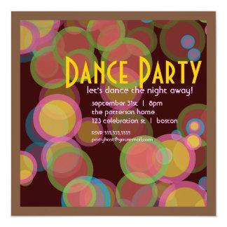 """Colorful Circle Disco Light Dance Party Invitation 5.25"""" Square Invitation Card"""