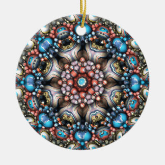 Colorful Circle of 3D Shapes Ceramic Ornament