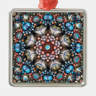 Colorful Circle of 3D Shapes Silver-Colored Square Decoration