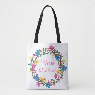 Colorful Circle of Flowers Bride Tote Bags