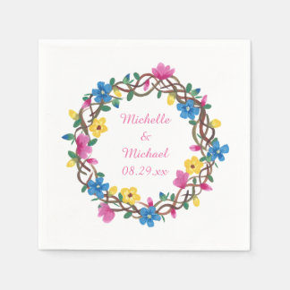 Colorful Circle of Flowers Personalized Napkins Disposable Napkins