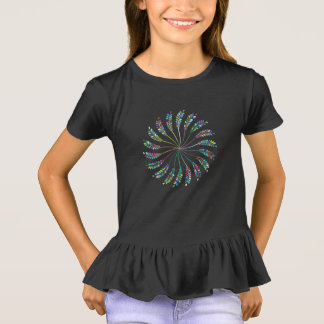 Colorful Circle of Leaves Girls' Ruffle T-Shirt