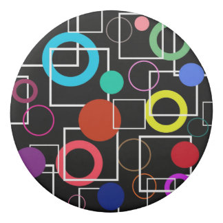 Colorful circles and white square eraser
