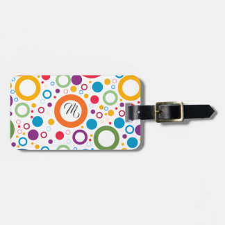 COLORFUL CIRCLES, CHEERFUL GEAOMETRICAL CIRCLES LUGGAGE TAG