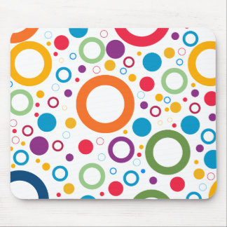COLORFUL CIRCLES, CHEERFUL GEAOMETRICAL CIRCLES MOUSE PAD