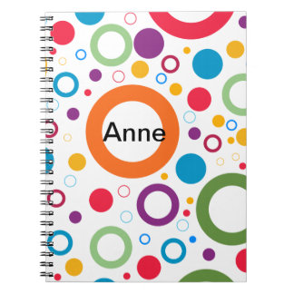COLORFUL CIRCLES, CHEERFUL GEAOMETRICAL CIRCLES NOTEBOOK