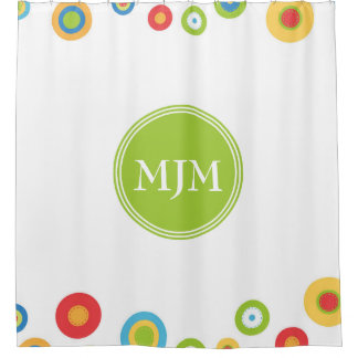 Colorful Circles Monogram Shower Curtain