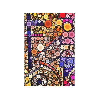 Colorful Circles Mosaic Southwestern Cross Design Stretched Canvas Prints