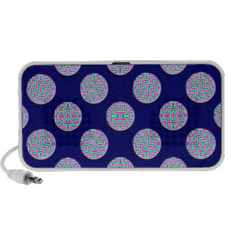 Colorful circles travelling speakers