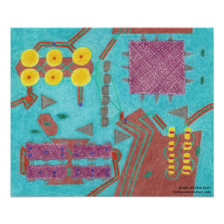 Colorful Circuits Stylized Circuit Board Poster