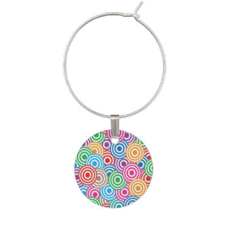 Colorful circular patterns wine glass charms