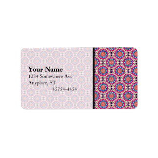 Colorful Circular Repeating Abstract Pattern Address Label