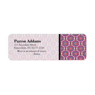Colorful Circular Repeating Abstract Pattern Return Address Label