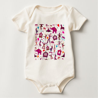 colorful circus characters on white baby bodysuit