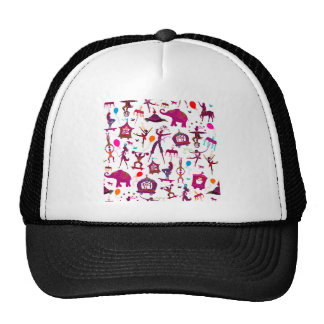 colorful circus characters on white cap