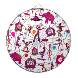 colorful circus characters on white dartboard