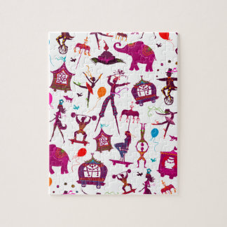 colorful circus characters on white jigsaw puzzle