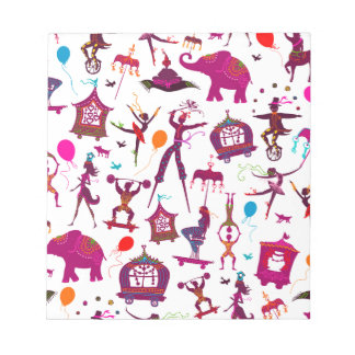 colorful circus characters on white notepad