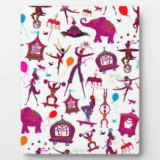 colorful circus characters on white plaque