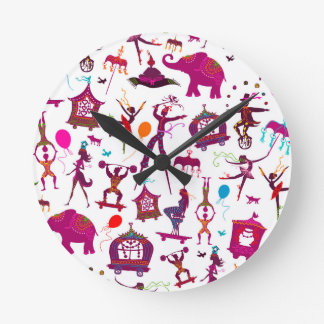 colorful circus characters on white round clock