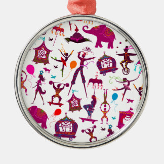 colorful circus characters on white Silver-Colored round decoration