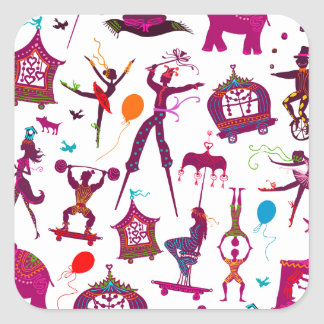 colorful circus characters on white square sticker