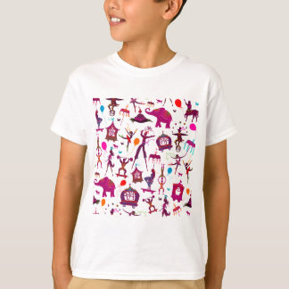 colorful circus characters on white T-Shirt