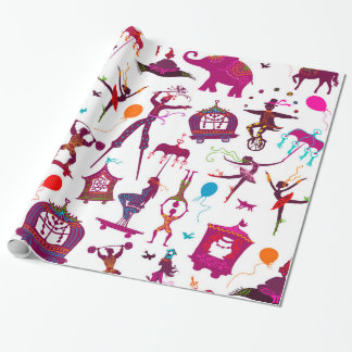 colorful circus characters on white wrapping paper