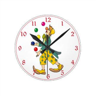 Colorful Circus Clown Juggler Round Clock