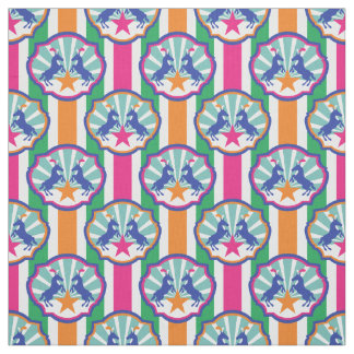 Colorful Circus Show Ponies Stripe Pattern Fabric