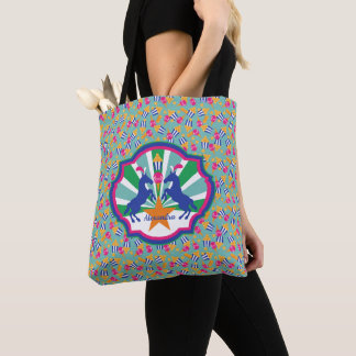 Colorful Circus Snacks and Ponies Personalized Tote Bag