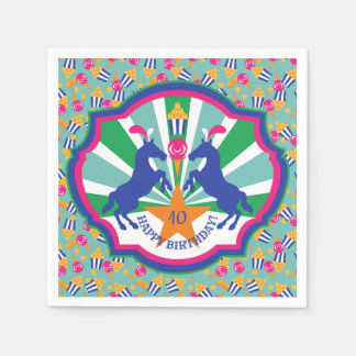 Colorful Circus Snacks and Show Ponies Birthday Paper Napkin