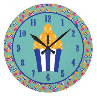 Colorful Circus Treats Ice Cream Peanuts Popcorn Large Clock