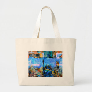 Colorful City Collage Large Tote Bag