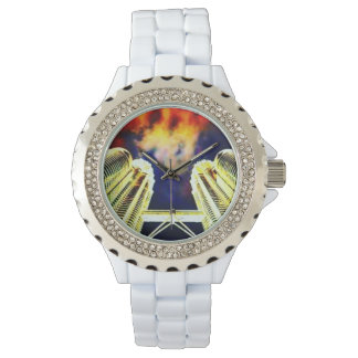 Colorful City On Fire Rhinestone Watch