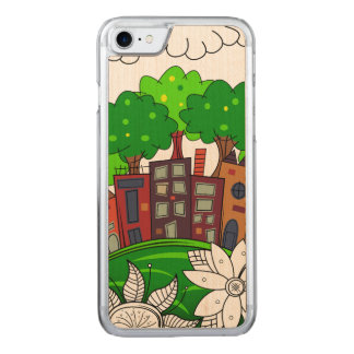 Colorful Cityscape Illustration Carved iPhone 7 Case
