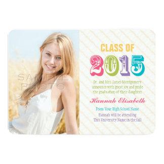 "Colorful Class of 2015 Graduation Photo 5"" X 7"" Invitation Card"
